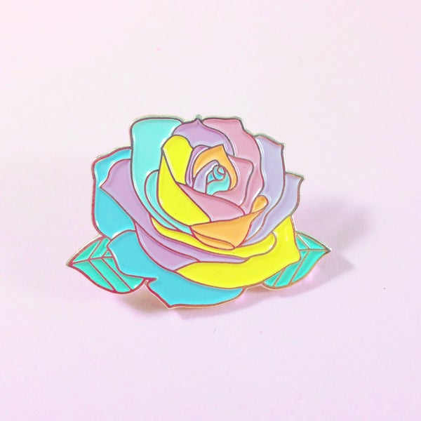 Image of Pastel Rainbow Rose Enamel Pin