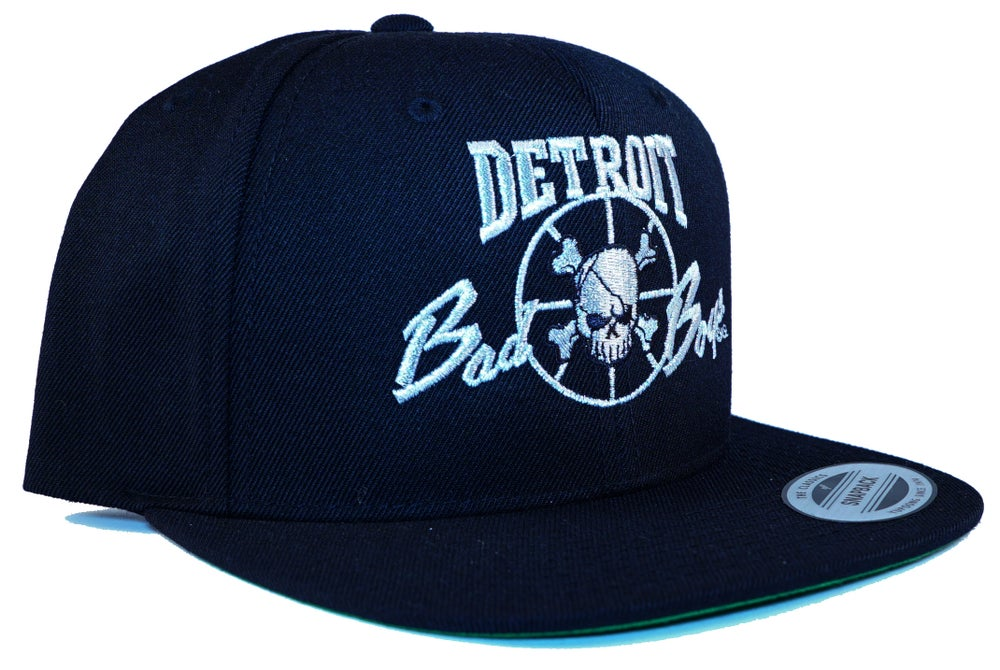 Image of Detroit Bad Boys Snapback Cap Black and Metallic Silver