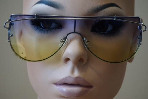 Image of Multi-Tone Retro Aviator Sunglasses