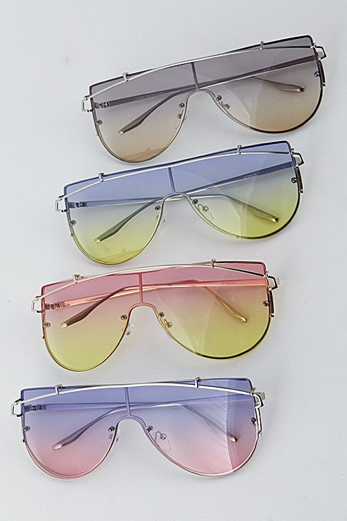 Image of Multi-Tone Retro Aviator Sunglasses