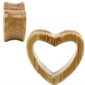 Image of Bamboo Wood Heart Shaped Ear Tunnel