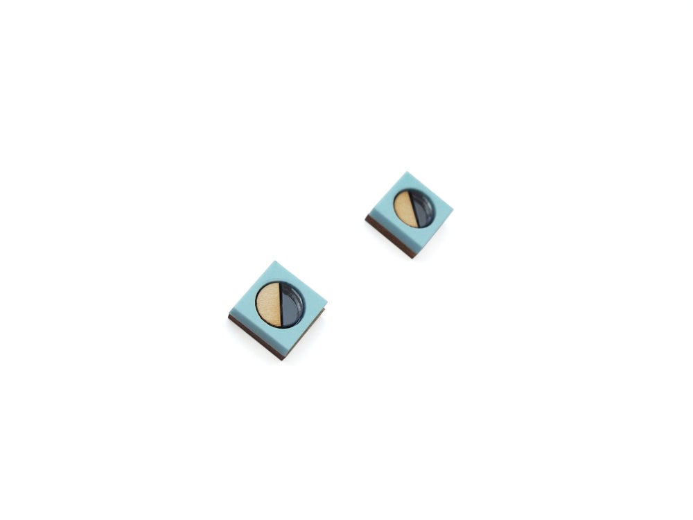 Image of Frame stud Earrings - Pastel blue