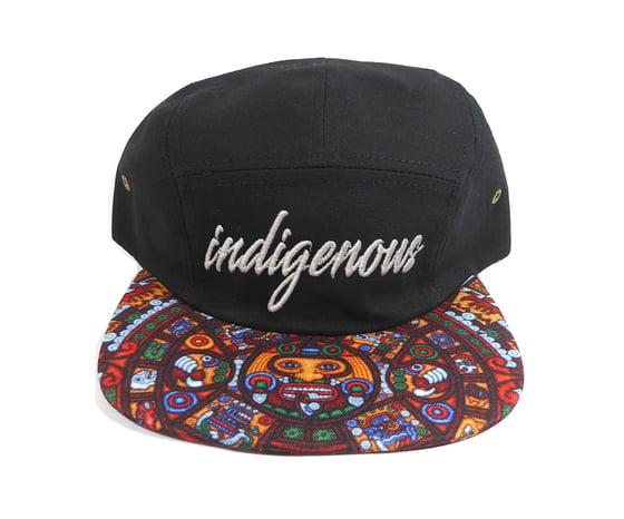 "Image of ""INDIGENOUS"" 5 PANEL, GENUINE LEATHER STRAP BACK ""THINKIN' CAP"""