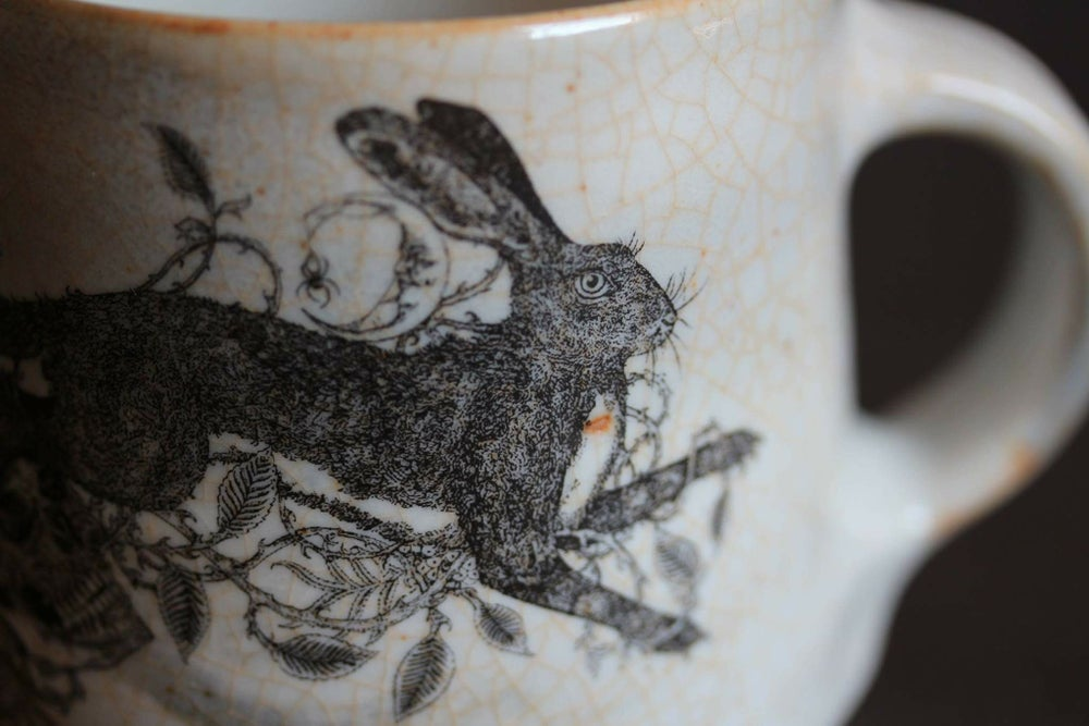 Image of Brambles, Rowan and The Hare ceramic mug.