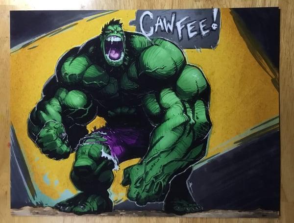 Image of Green Hulk 'Cawfee' print