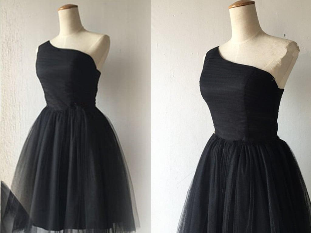 Lovely Black Short Tulle Homecoming Dresses, Little Black Dresses, Party Dresses