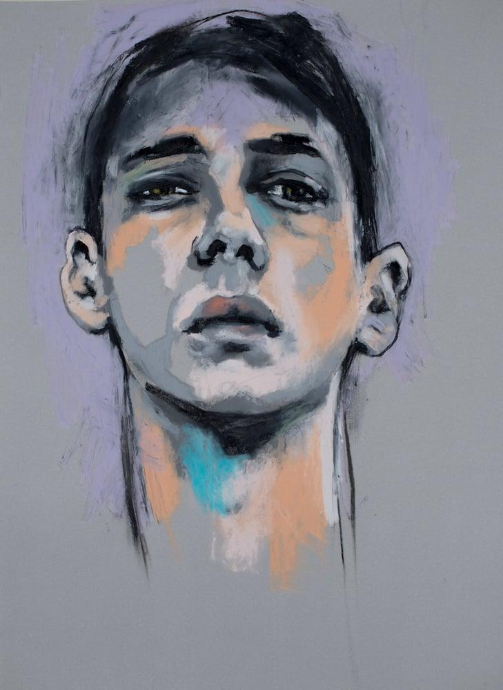 """Image of """"The Runner"""", Oil Pastel on Paper framed"""