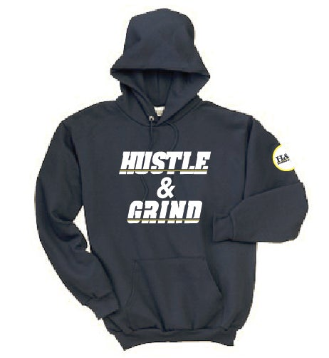 Image of Hustle & Grind San Diego Charger themed hoodie. Navy blue with white and yellow letters and logo.