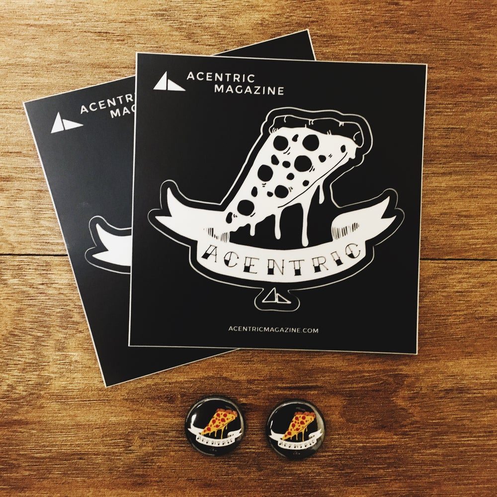 Image of Acentric Magazine | Sticker + Pin Bundle