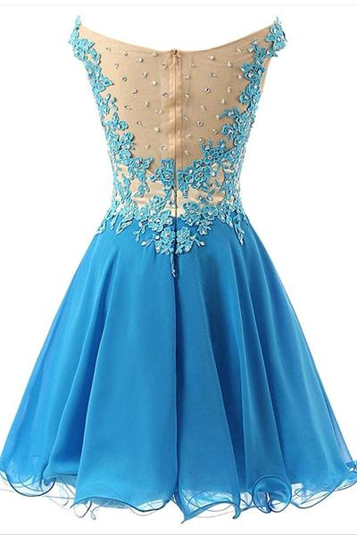 Beautiful Blue Chiffon Short Handmade Prom Dress with Lace Applique, Homecoming Dresses
