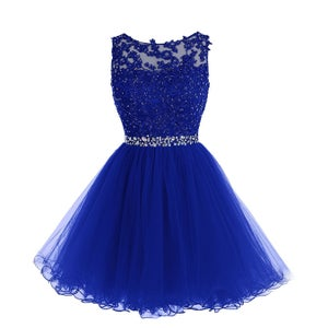 Image of Illusion Lace Appliques Cocktail Dress With Beaded, Short Tulle keyhole back Homecoming Dress