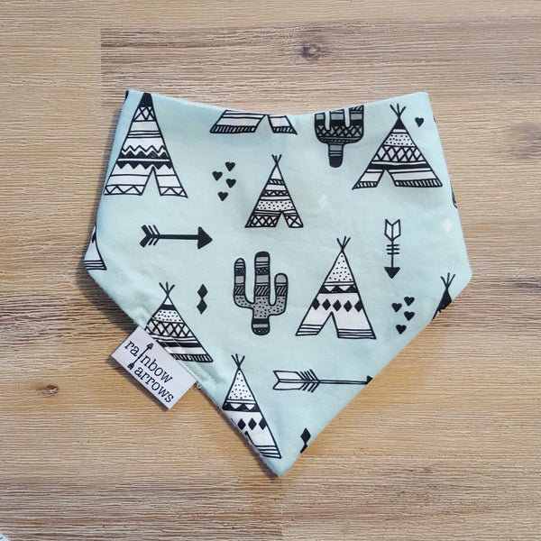Image of MINT INDIAN TEEPEE- Bandana Bib