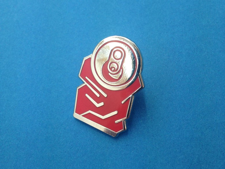 Image of Crushed can enamel pin badge