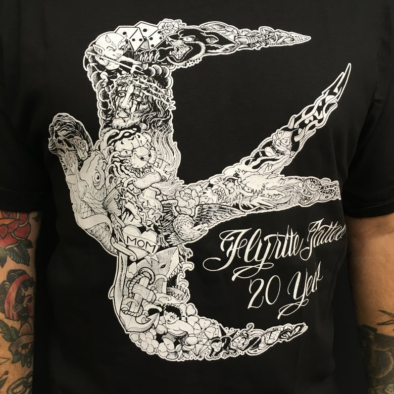 Image of FLYRITE 20TH ANNIVERSARY TEE BLACK