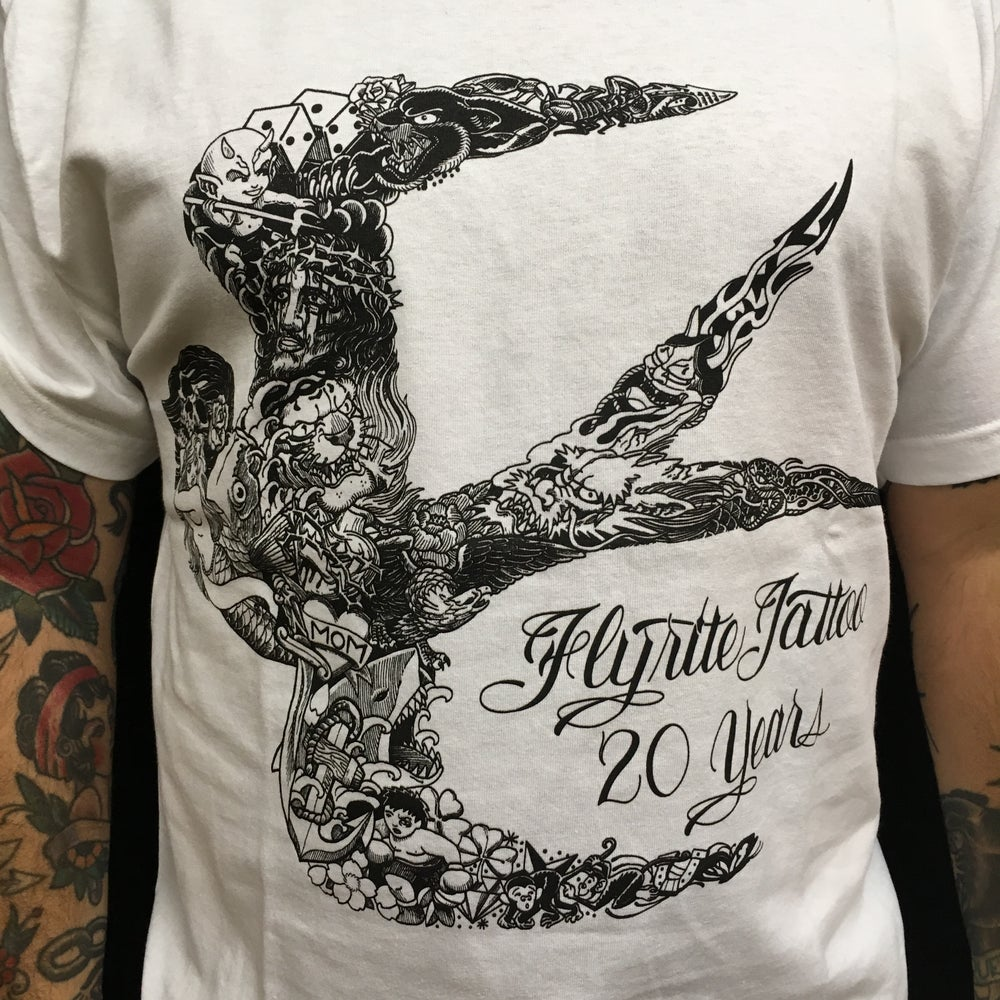 Image of FLYRITE 20TH ANNIVERSARY TEE WHITE