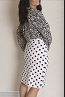 Image 2 of Women's White with Black Polka Dots Pencil Skirt