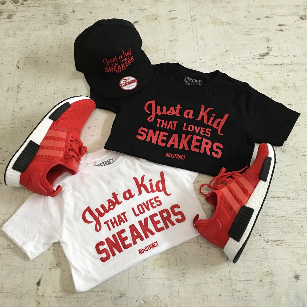 """JUST A KID THAT LOVES SNEAKERS T-SHIRT """" RED PRINT """" (YOUTH)"""
