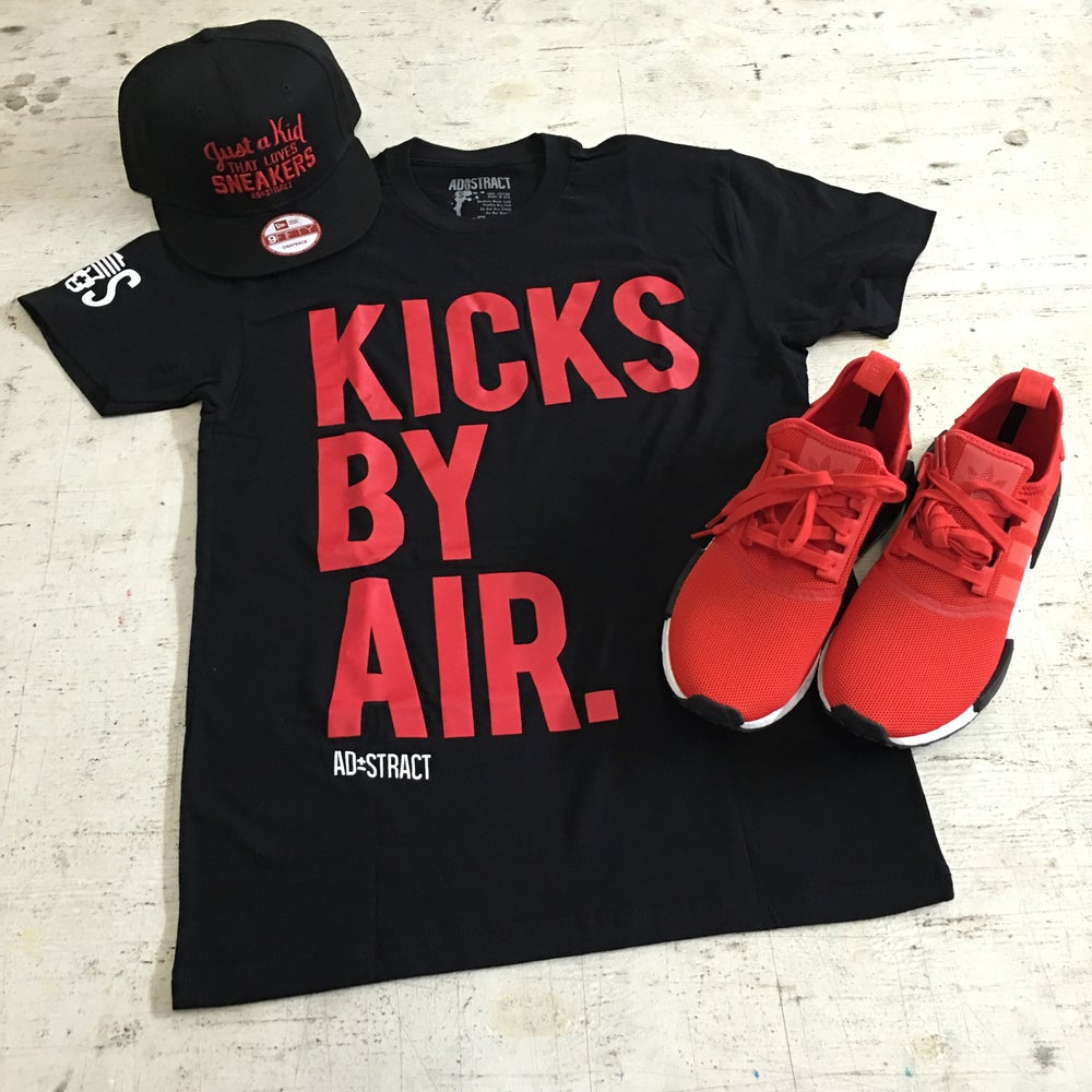 "Image of KICKS BY AIR ""BLACK/RED/WHITE OR BLACK/WHITE"" TSHIRT"