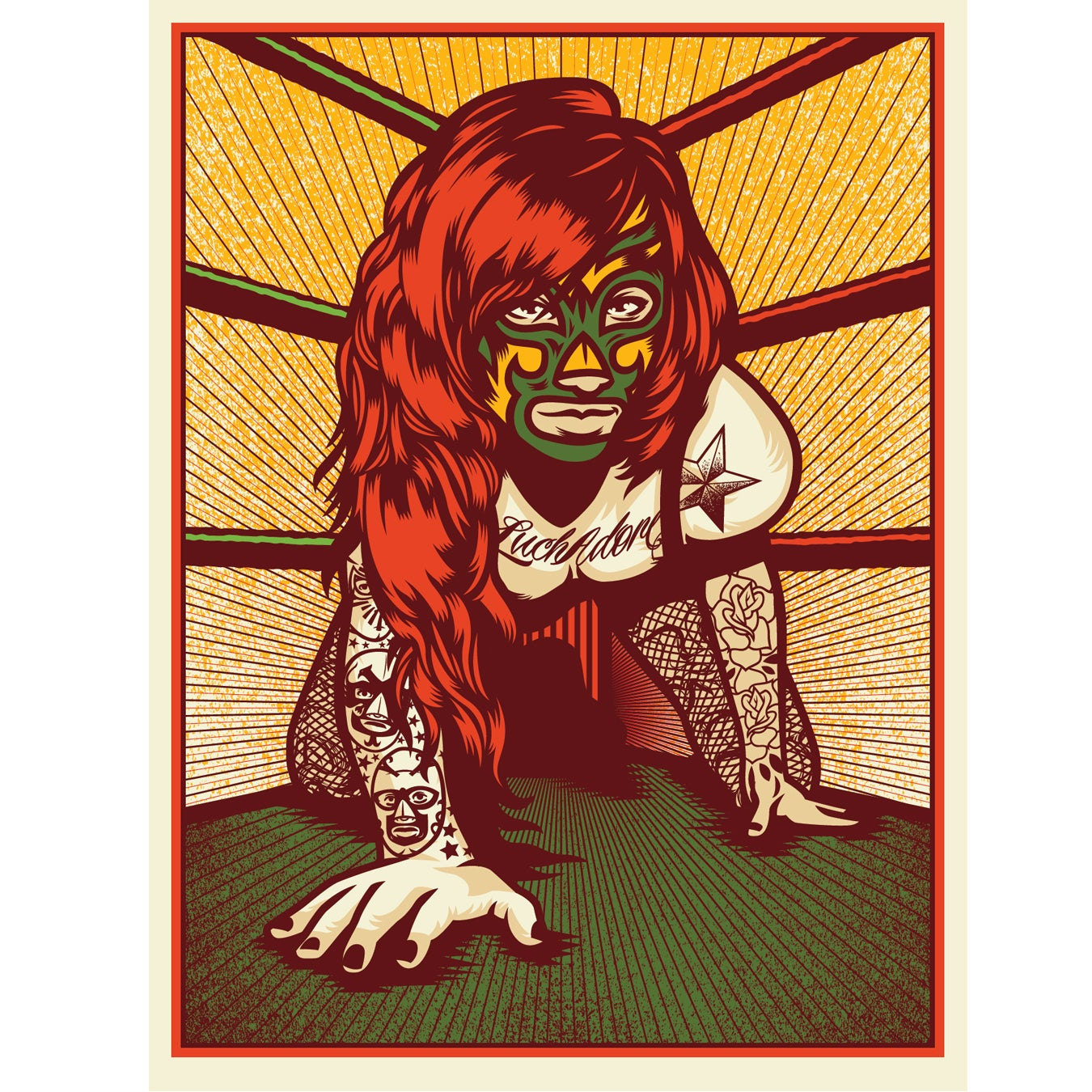 """Image of """"Knees Girl"""" LuchAdore Poster by Rockets Are Red"""