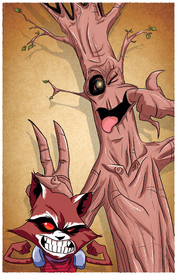 Image of Watterson's Rocket & Groot 11x17 print