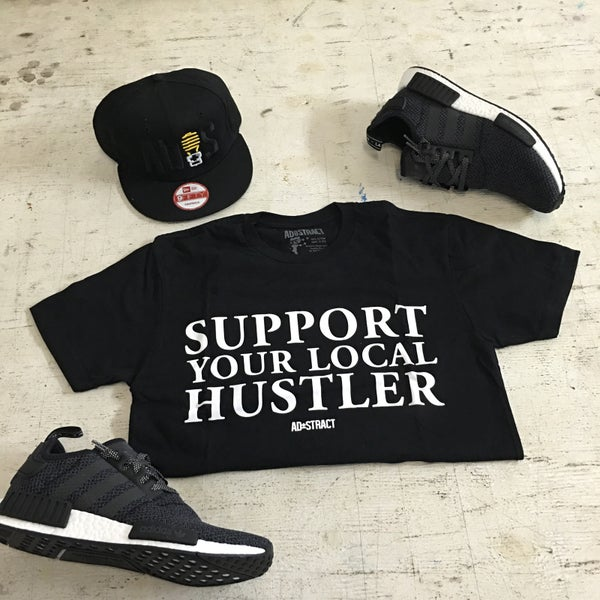 "Image of SUPPORT YOUR LOCAL HUSTLER ""WHITE PRINT"" TSHIRT OR HOODY"