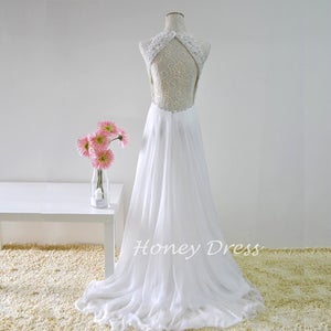 Image of Ivory Chiffon Halter Evening Gown With Beaded Bodice