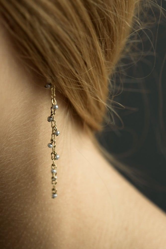 Image of Boucle d'Oreille Perle Simple / Chaine OR