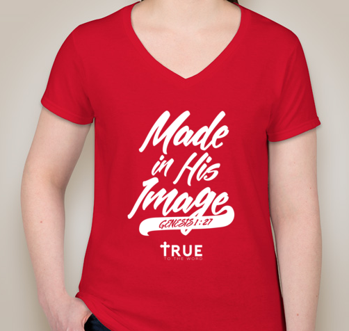 Image of True to The Word || Made in HIS Image Woman V-Neck || Red