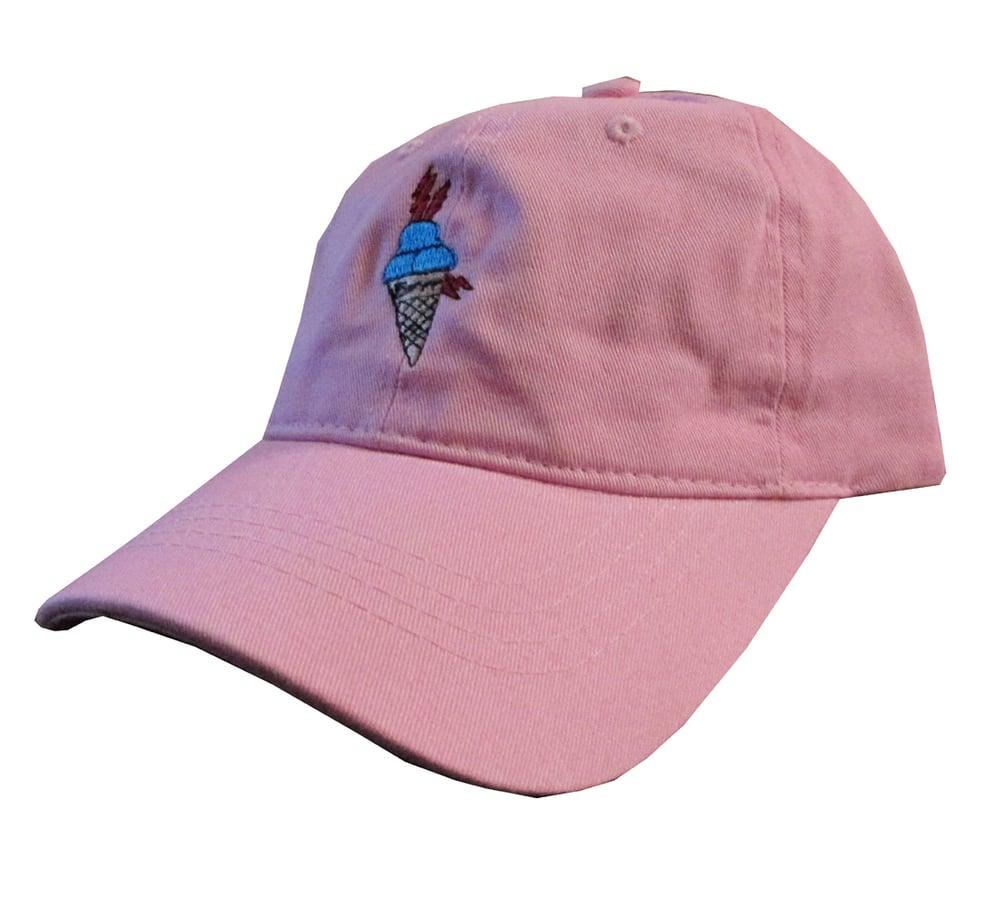 92fe7f6d867 Image of Custom Gucci Mane Ice Cream Cone Meme Salmon Pink Twill Dad  HatCotton Dad Hat