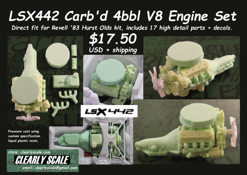 Image of LSX442 Carb'd 4bbl V8 (for Revell '83 Hurst Olds kit)