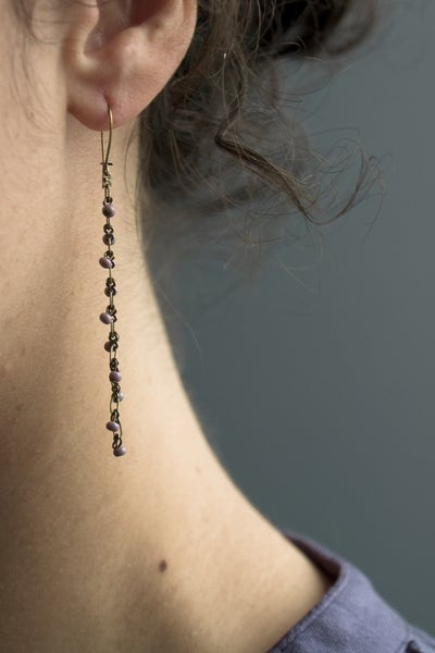 Image of Boucle d'Oreille Perle Simple / Chaine Laiton