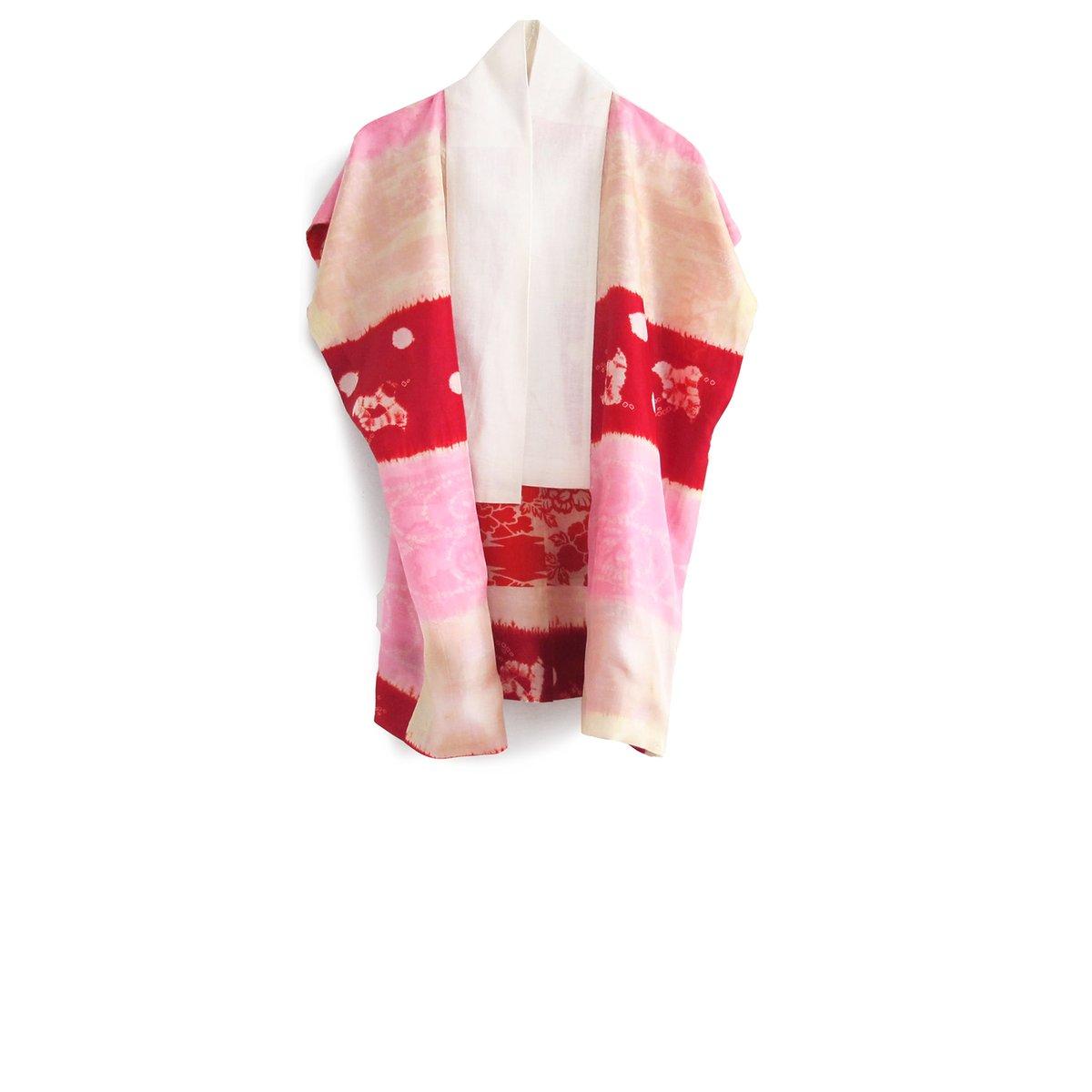 Image of Pastel kimono-vest af silke - vendbar