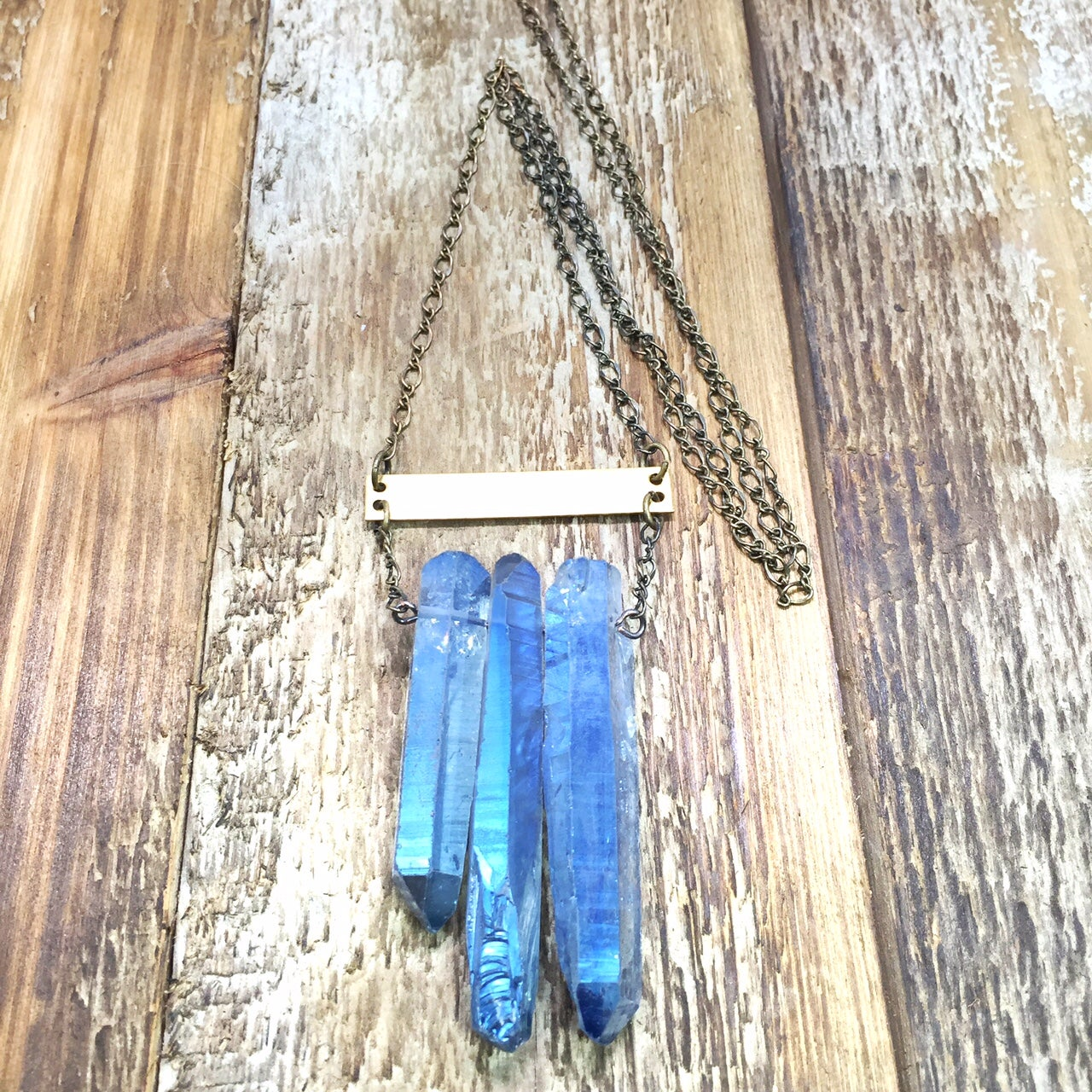 Image of Blue Crystal Bar Necklace