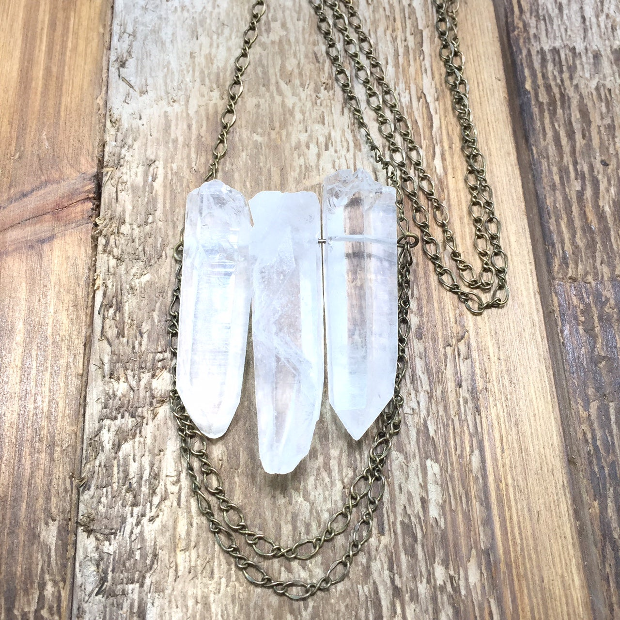 Image of Double Chain Crystal Necklace