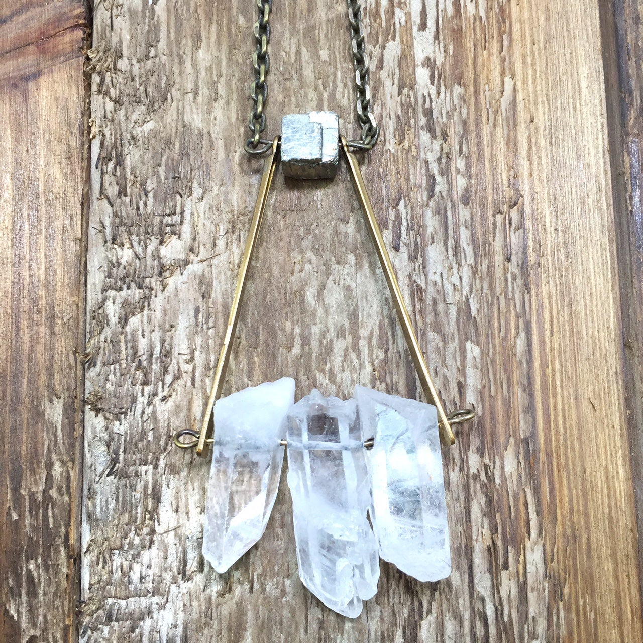 Image of Crystal Trio x Pyrite Pendant