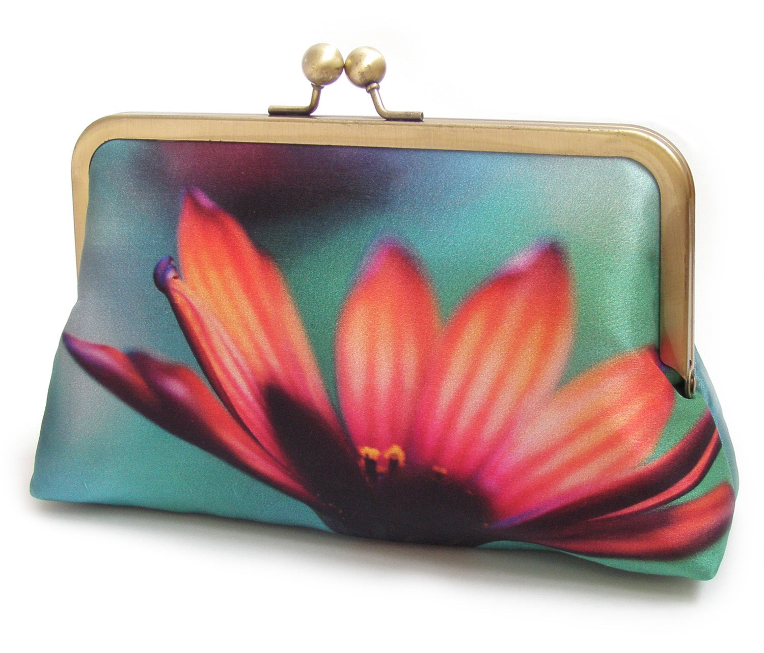 Image of African Daisy silk clutch bag, pink and orange flower purse