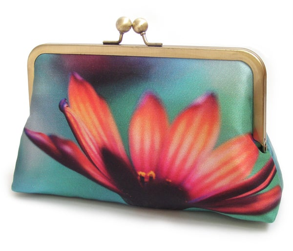 African Daisy silk clutch bag, pink and orange flower purse - Red Ruby Rose