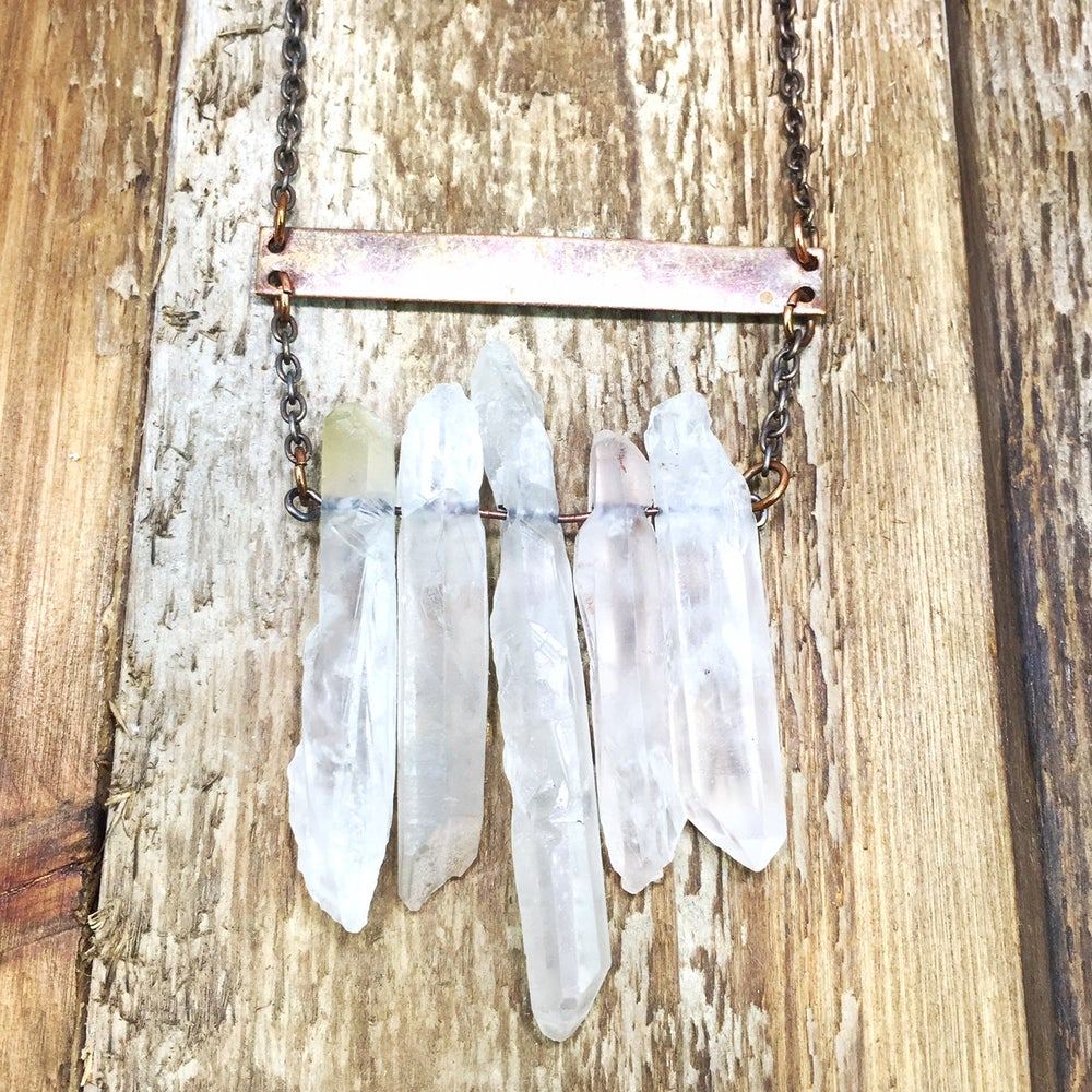Image of Crystal Gold Bar Necklace