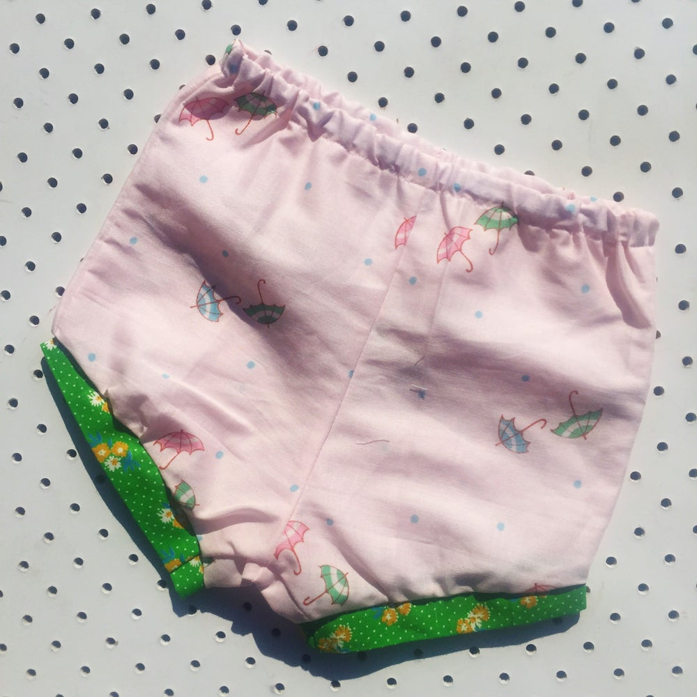 Image of Baggy bloomers - size 6-12mths - pink umbrellas