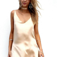 Image of cute deep v shining straps back cross dress