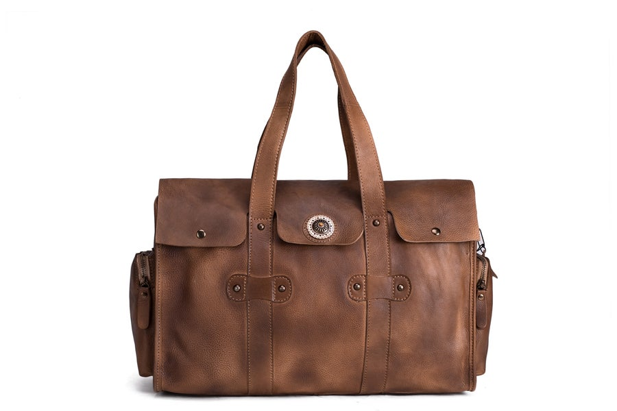 Image of Handmade Vegetable Tanned Leather Travel Bag, Tote Bag, Women Handbag 9035