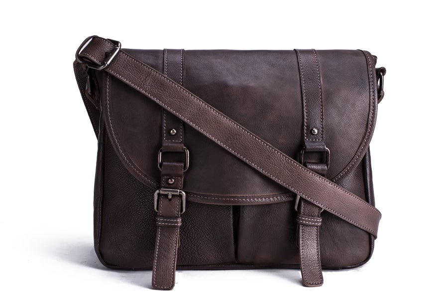 Image of Handmade Vegetable Tanned Leather Men's Messenger Bag, Crossbody Bag, Satchel Bag 9042