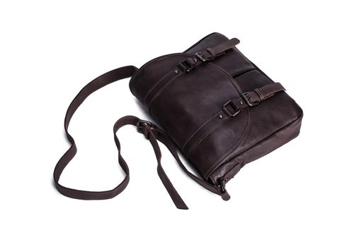 Image of Handmade Vegetable Tanned Leather Men's Messenger Bag, Crossbody Bag, Satchel Bag 9042