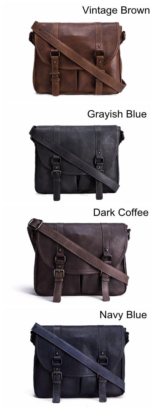 52c7eb1ef Handmade Vegetable Tanned Leather Men's Messenger Bag, Shoulder Bag,  Satchel Bag 9042