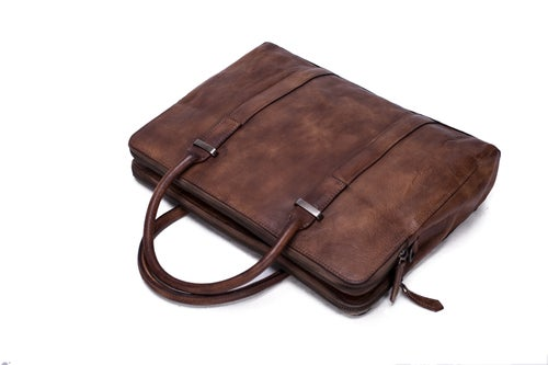 Image of Vintage Vegetable Tanned Men Leather Briefcase, Messenger Bag, Laptop Bag 9043