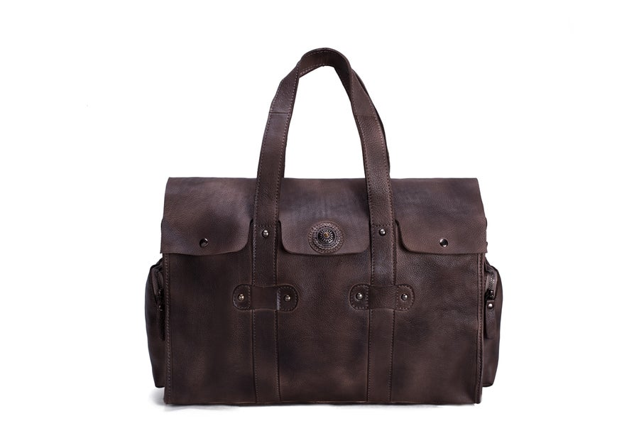 Image of Handmade Vegetable Tanned Leather Tote Bag, Travel Bag, Overnight Bag 9035
