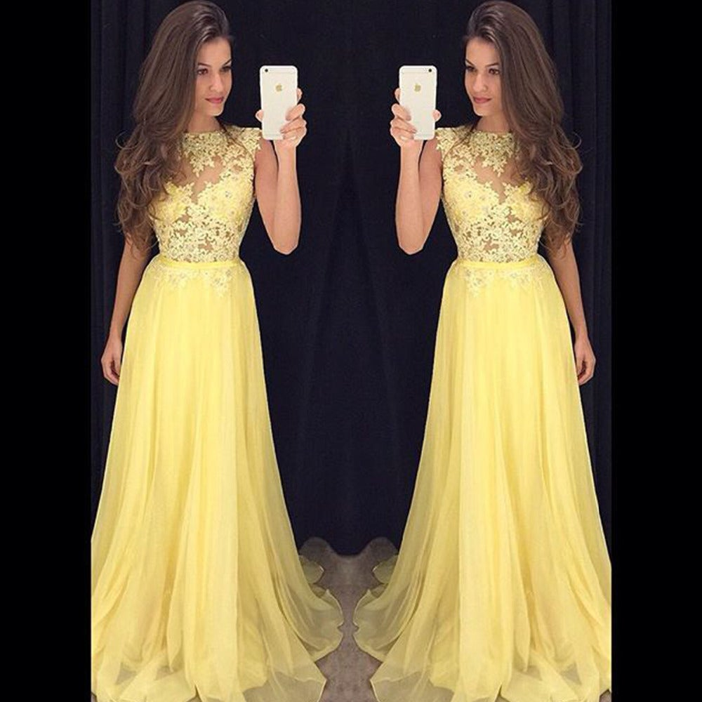 Image of Elegant Lace Chiffon Ballgown Prom Dress, Illusion Sleeveless Ruffles Prom Dress