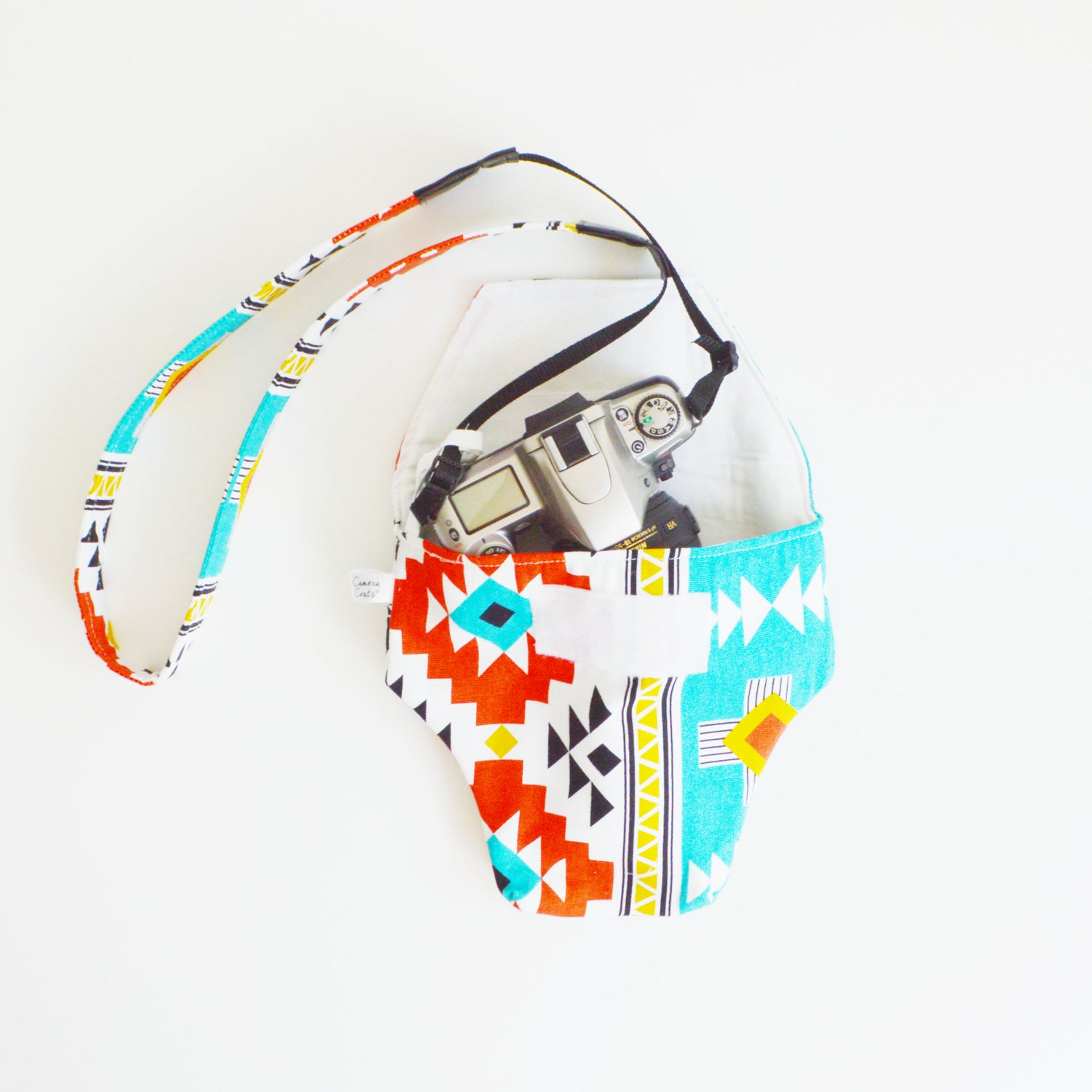 Image of Aztec Turquoise and Red Cotton Camera Case by Camera Coats