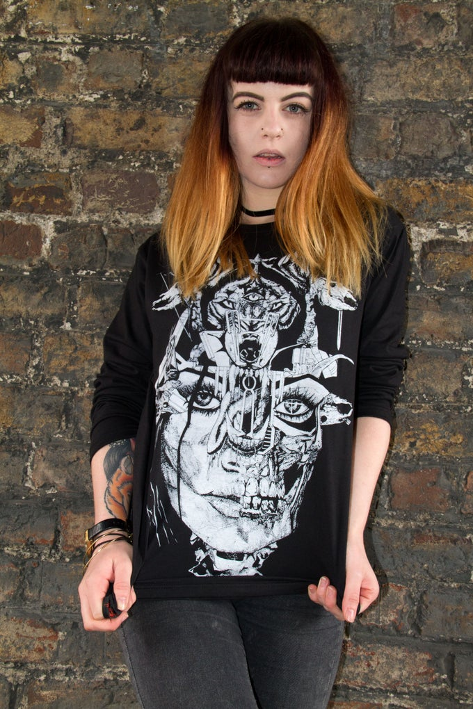 Image of Wolf Lady of the Apocalypse Black Long Sleeve Tee