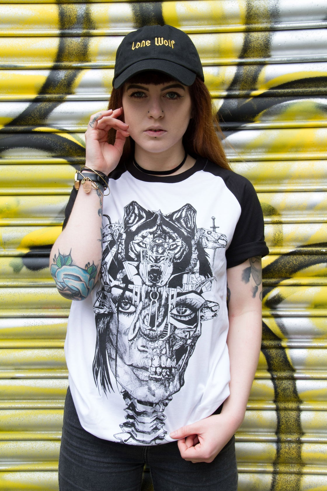 Image of Wolf Lady of the Apocalypse Contrast Raglan Tee